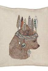 The Birch Store Embroidered Bear Pillow