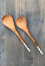 The Birch Store Striped Olive Wood Salad Servers