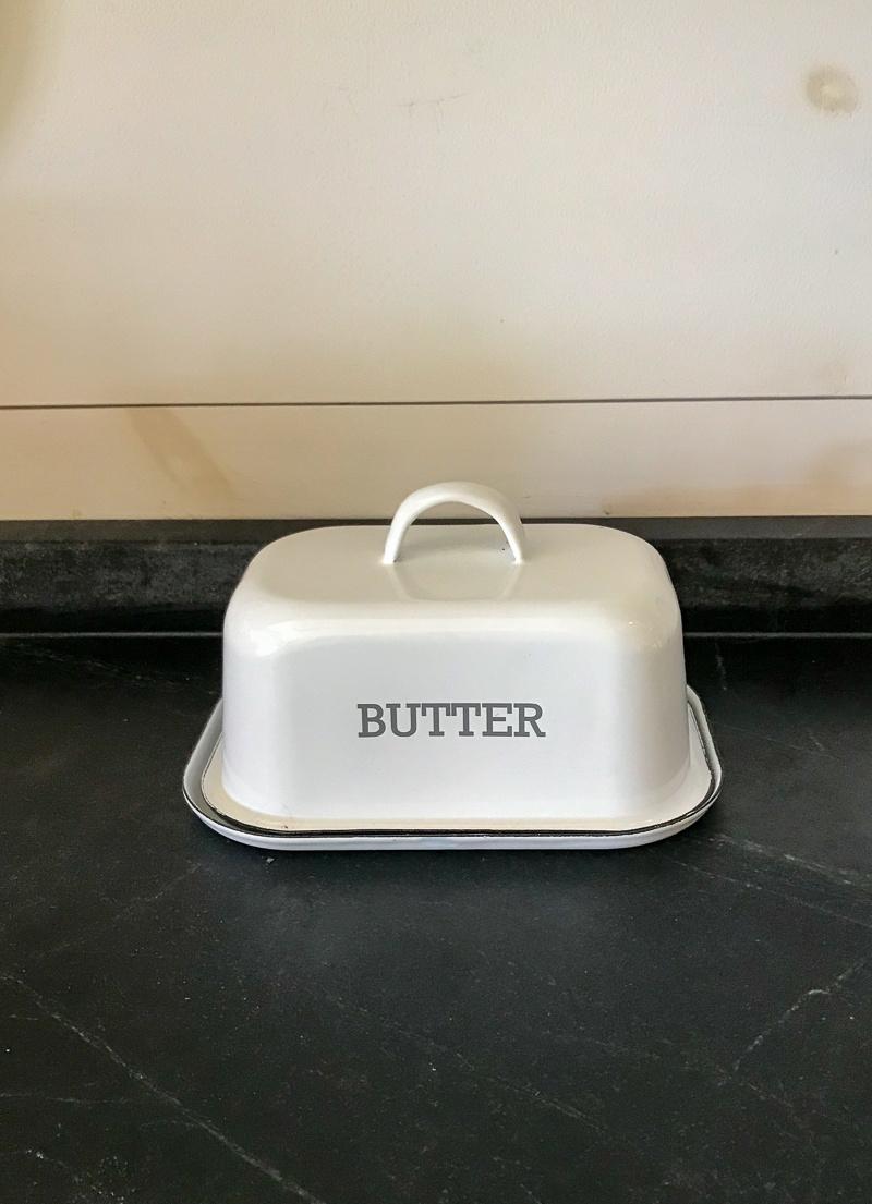 The Birch Store White Enamel Butter Dish