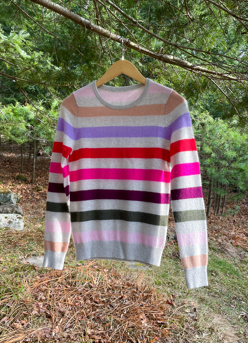 The Birch Store Cashmere Multi Stripe Crew Sweater