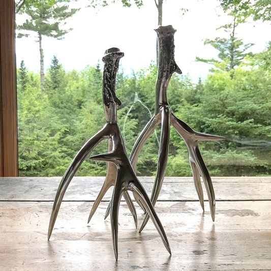 The Birch Store Medium Polished Antler Candlesticks