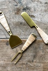 The Birch Store Brass & Rattan Cheese Fork^