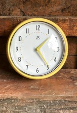 The Birch Store Retro Round Metal Wall Clock Yellow^