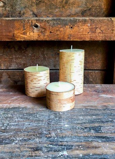 The Birch Store Birch Bark Pillar Candle 3x3