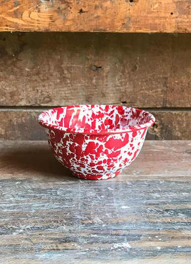 The Birch Store Marble Red Small Enamelware Bowl