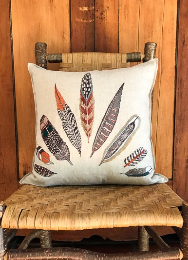 The Birch Store Embroidered Feather Fan Pillow