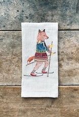 The Birch Store Skiing Fox Linen Tea Towel