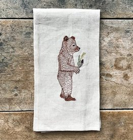 The Birch Store Giving Bear Linen Tea Towel