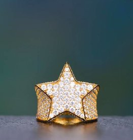 Aporro Iced Out Star Ring