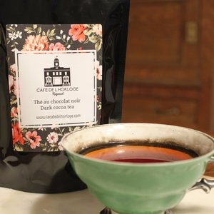 CAFE DE LHORLOGE Thé Chocolat noir - Dark cocoa tea 50g CAFE DE L'HORLOGE