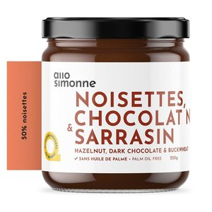 allo Simonne Pâte à tartiner noisettes 50% , chocolat noir 100% et sarrasin