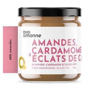 allo Simonne Pâte à tartiner aux amandes 68%, cardamome et éclats de cacao