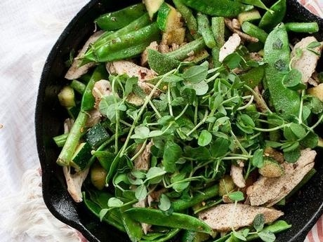 SNOW PEA, GREEN BEAN AND TURKEY STIR-FRY WITH ORANGE GINGER SAUCE