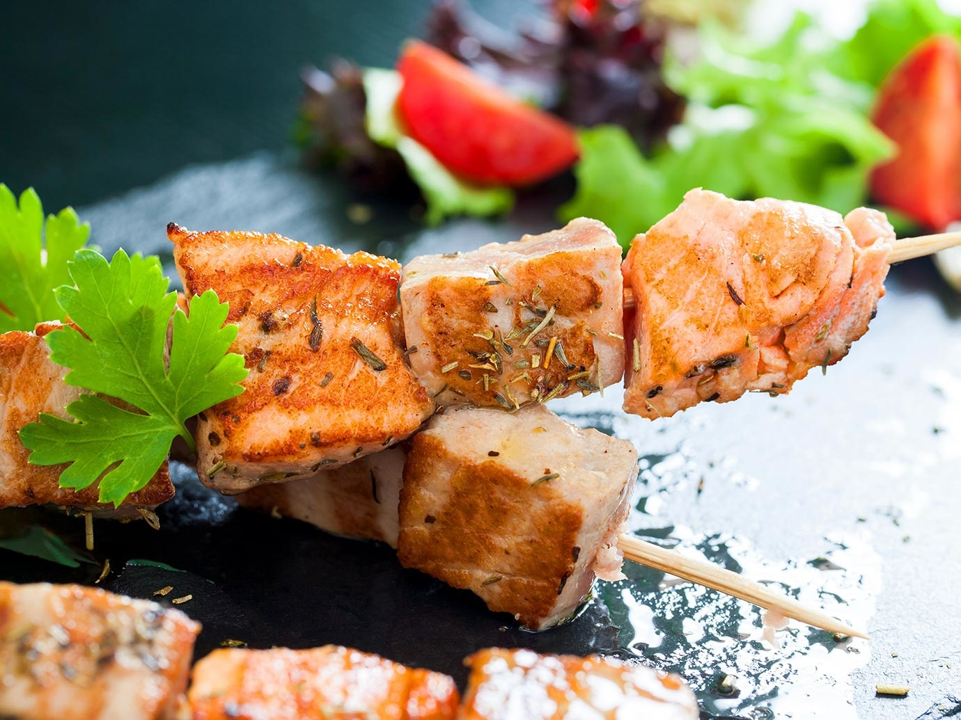 GRILLED SALMON BROCHETTE MARINATED IN TOMAHAWK BLEND