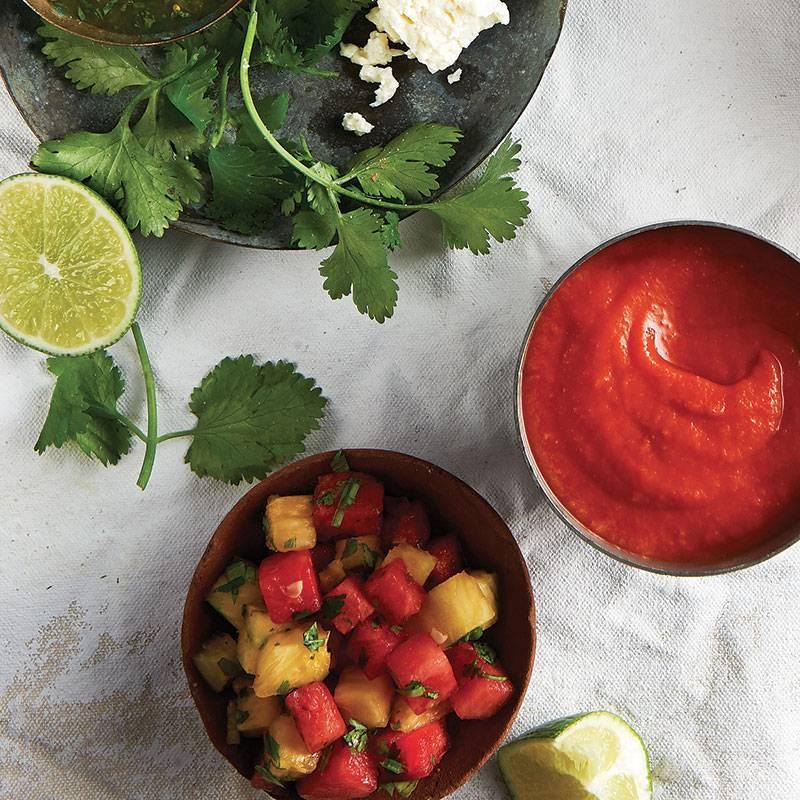 Salsa à l'ananas et au melon d'eau