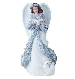 Transpac Silver Glitter Angel - WITH BOOK
