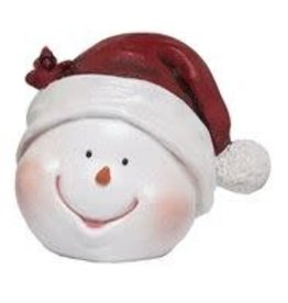 Transpac Snowman Head with Santa Hat