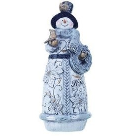 Transpac Glittered Snowman Figure- Hope Expression