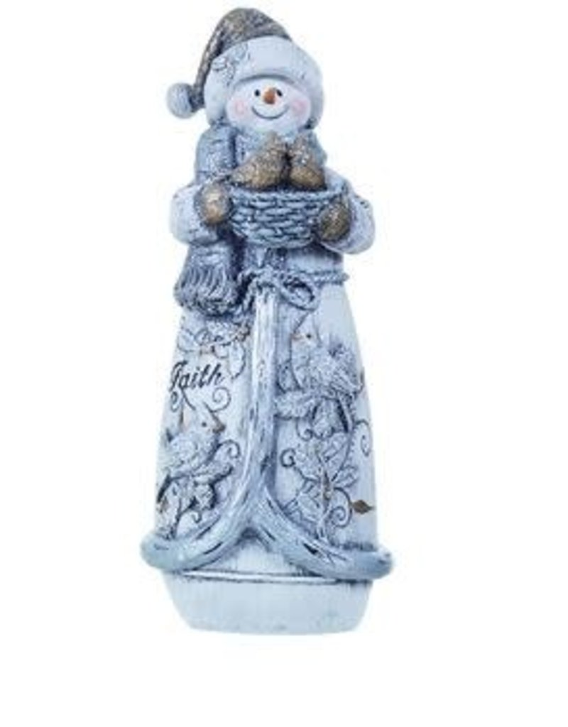Transpac Glittered Snowman Figure- Faith Expression