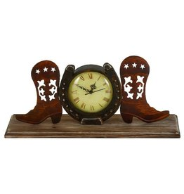 UMA ENTERPRISES INC. Boots and Horseshoe Clock