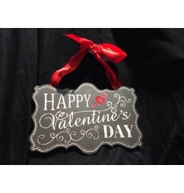 HAPPY VALENTINE'S DAY Sign w/Red Ribbon