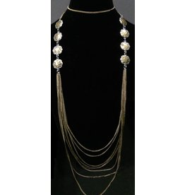 K & K Interiors LONG ANTIQUE SILVER/GOLD MULTI CHAIN MEDALLION NECKLACE