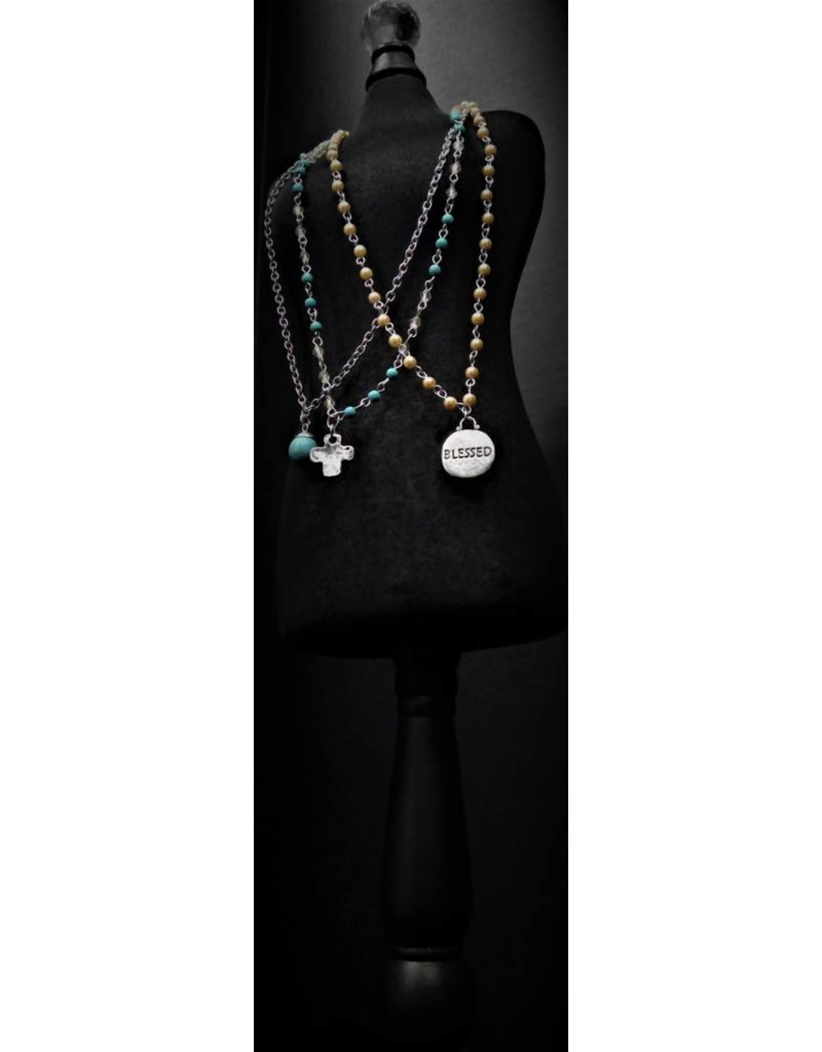 Fossick Imports Turquoise BLESSED 3-necklace set