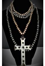 2-Beaded Metal Cross Necklace