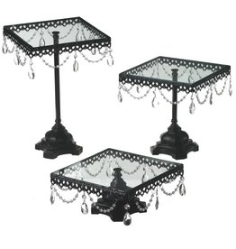 UMA ENTERPRISES INC. 3pc Iron & Arcylic Cake Stand Set