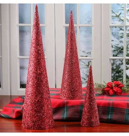 K & K Interiors Red Glitter Cone Trees - Set of 3