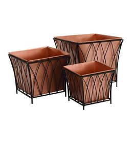 UMA ENTERPRISES INC. Square Copper Planter Set of 3