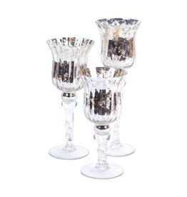 MelRose Silver Candle Holder Set of 3