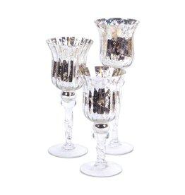 MelRose Silver Candle Holder Set of 3