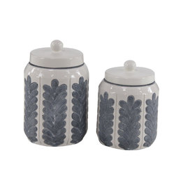 UMA ENTERPRISES INC. 2-pc Blue & White Canister Set