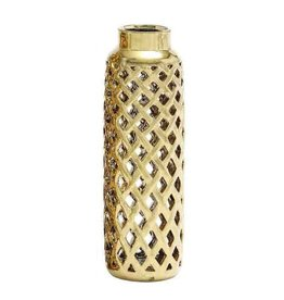UMA ENTERPRISES INC. Gold Honeycomb Vase - NARROW