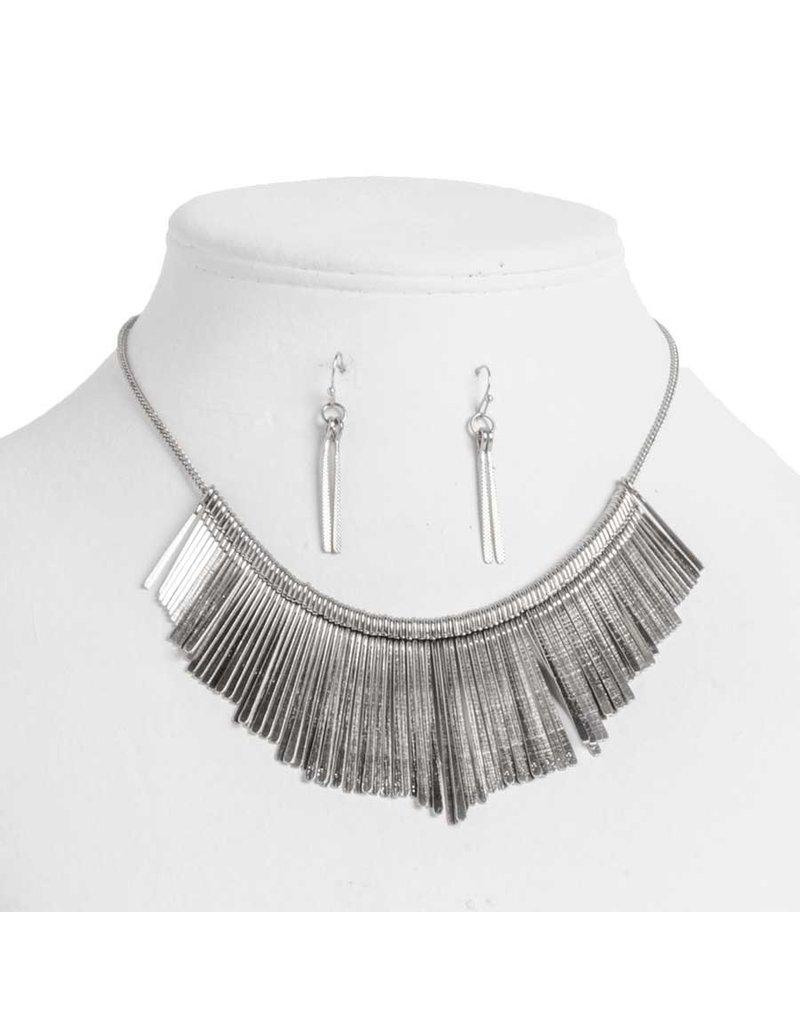 Antique silver drop necklace set