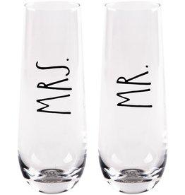 Home Essentials Mr & Mrs Stemless Flutes