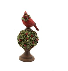 MelRose Mistletoe Topiary With Cardinal (Small)