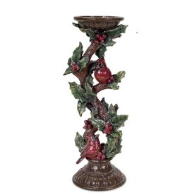 MelRose Medium Cardinal Holly Candle Holder