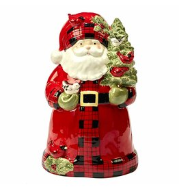 Certified International Corp Winter's Plaid 3-D Cookie Jar - Santa