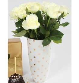 8 Oak Lane Vase - White with Gold Dots
