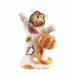 Blue Sky Halloween Ghostly Cat Candle House