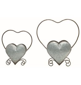 Transpac Galvanized Heart Planter, Set of 2