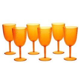 Certified International Corp Orange Acrylic Goblet - set of 6