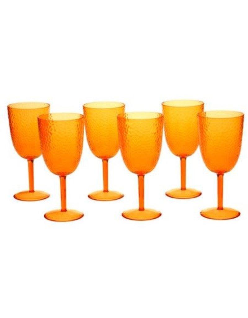 Certified International Corp Orange Acrylic Goblet - set of 6
