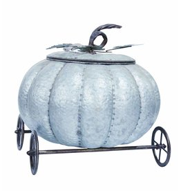 Transpac Galvanized Pumpkin Carriage