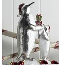 K & K Interiors Silver & White Mother and Child Penguin with Gifts