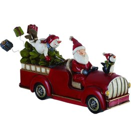 Transpac Santa and Snowman on Christmas Tree Truck