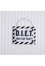ADAMS & CO. DIET Black/White Tile Sign