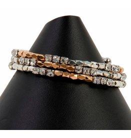 K & K Interiors Gold & Silver memory wire bracelet